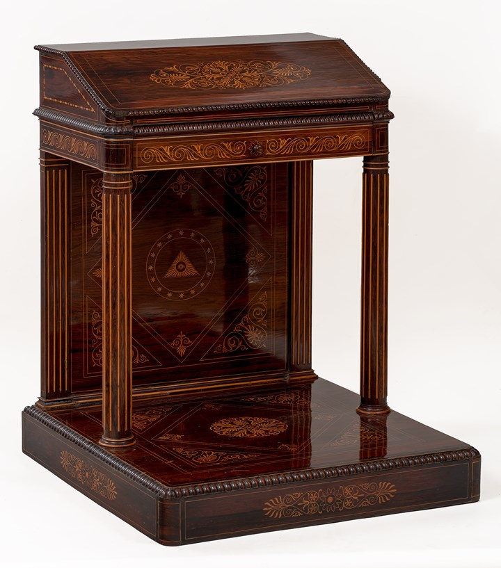 An unique Italian carved and veneered kingwood and maple inlaid Massonic Lectern