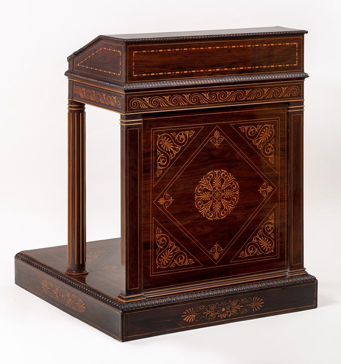 Henry Thomas Peters - An unique Italian carved and veneered kingwood and maple inlaid Massonic Lectern | MasterArt