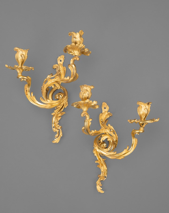 A pair of Louis XV Ormolu wall lights