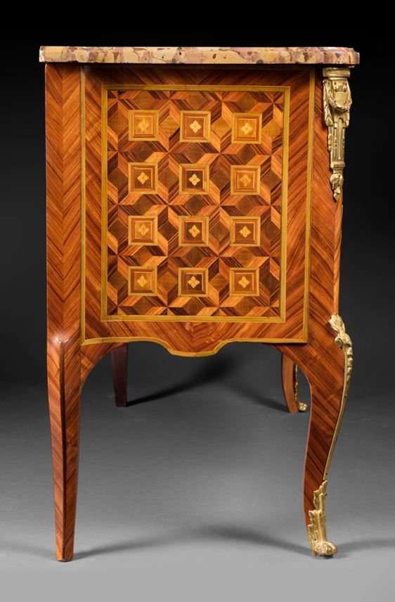 Léonard Boudin - A Transition Louis XV/XVI Ormolu-Mounted Kingwood Parquetry Commode | MasterArt