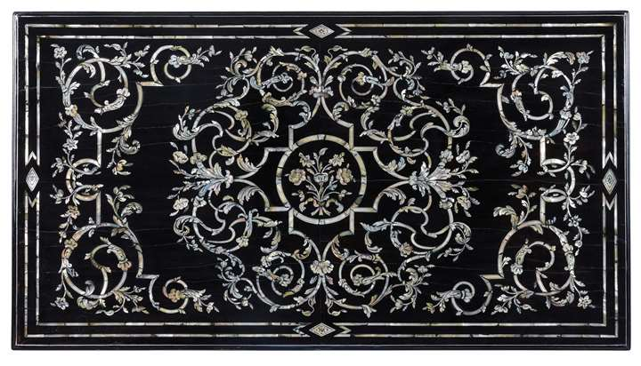 An important late baroque Venetian ebony mother of pearl and metal inlaid table top