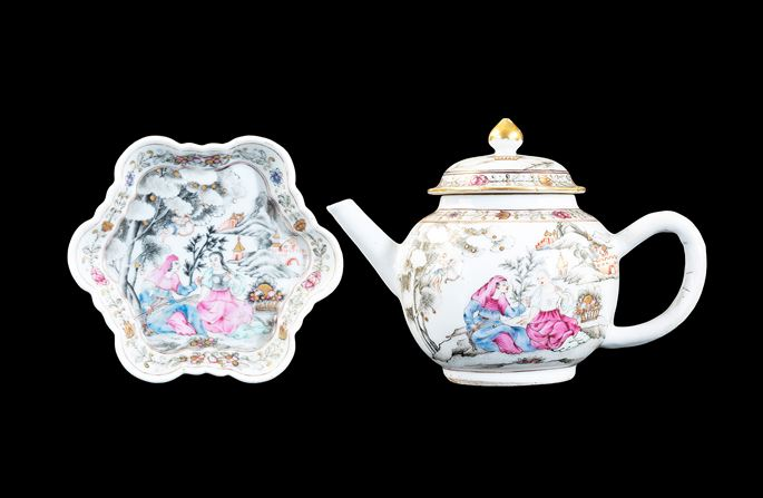 Chinese export porcelain teapot, cover and stand with European subject scene | MasterArt