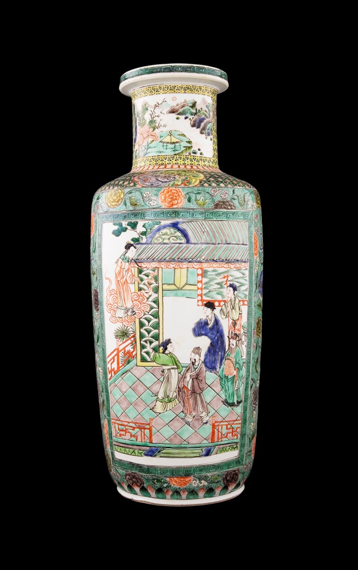 Chinese porcelain Famille Verte Rouleau Vase