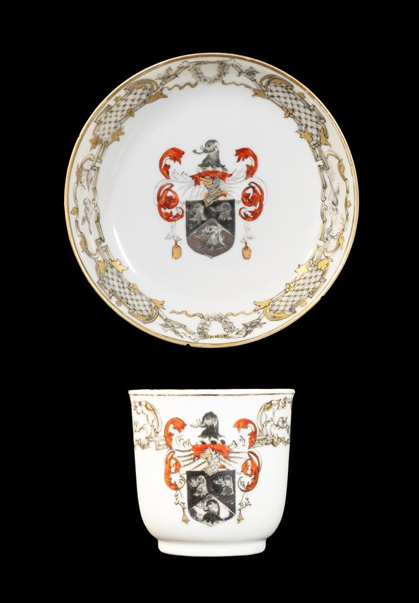 GG:  Chinese armorial porcelain cup and saucer, arms of Saunders | MasterArt
