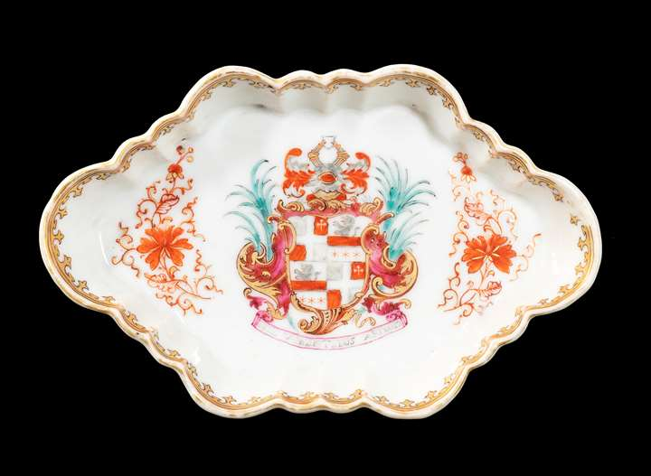 GG:  Chinese armorial porcelain spoon tray, arms of Rudge