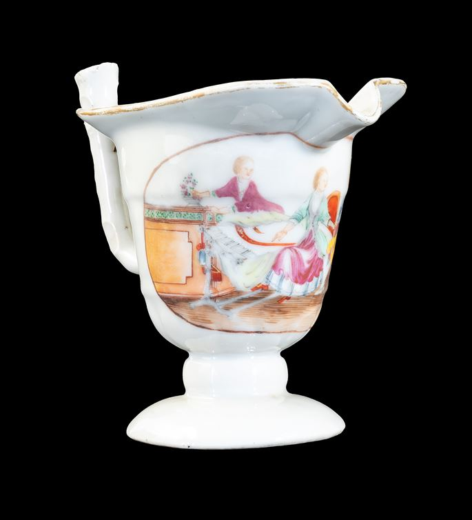 GG:  Chinese export porcelain milk jug of helmet form with European Subject | MasterArt