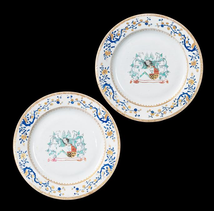 GG:  Pair of Chinese armorial porcelain Chargers, arms of Charlé and de Nollet | MasterArt