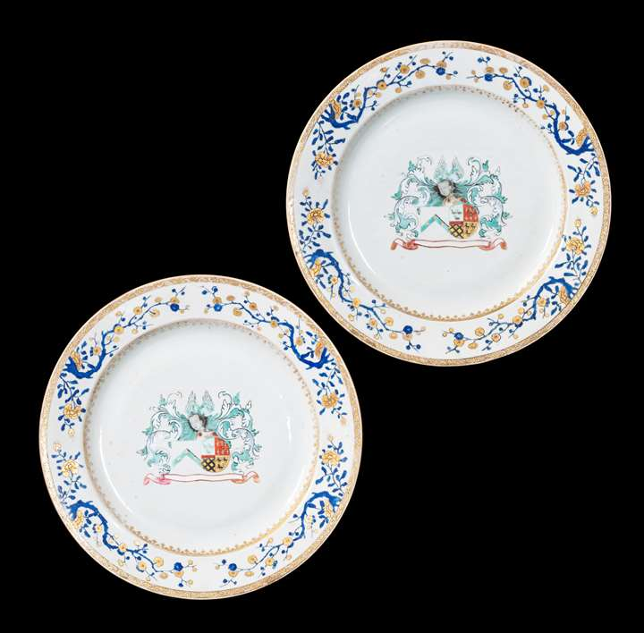 GG:  Pair of Chinese armorial porcelain Chargers, arms of Charlé and de Nollet
