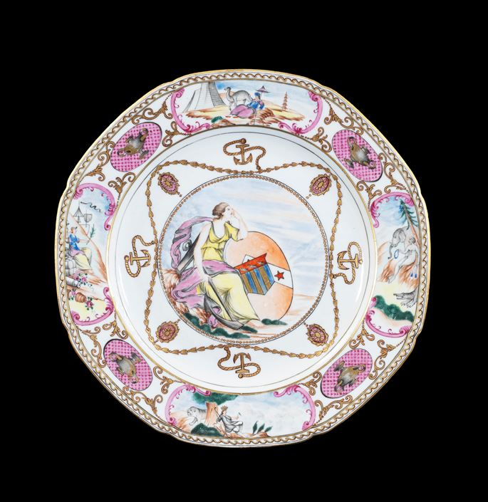 GG: Chinese armoral porcelain dinner plate, arms of Ker with Martin in pretence | MasterArt