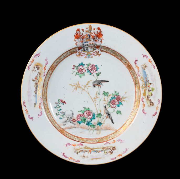 GG: Chinese armoral porcelain large plate, arms of Sharpe impaling Cartwright | MasterArt