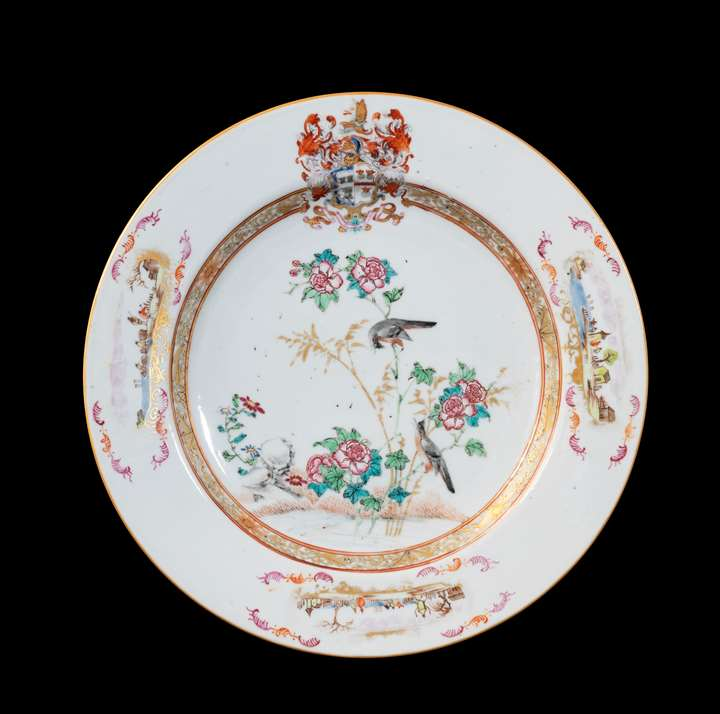 GG: Chinese armoral porcelain large plate, arms of Sharpe impaling Cartwright