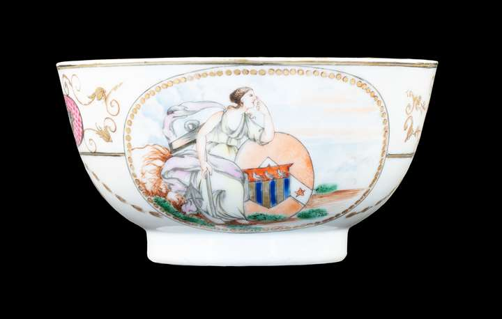 GG: Chinese armoral porcelain small bowl, arms of Ker with Martin in pretence