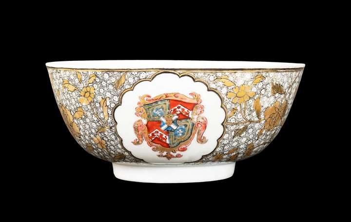 GG: Chinese armorial eggshell porcelain small bowl, arms of Murray quartering Hepburn