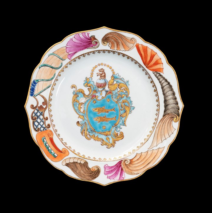 GG: Chinese armorial porcelain dinner plate, arms of Guillot