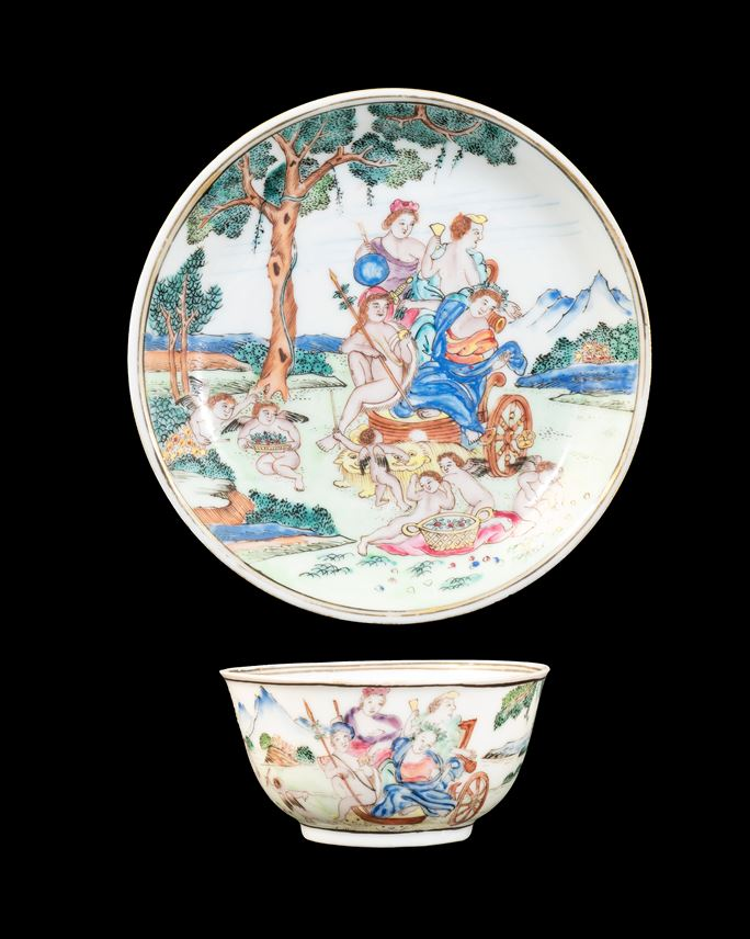 GG: Chinese eggshell porcelain famille rose teabowl and saucer with a mythological subject after Albani | MasterArt