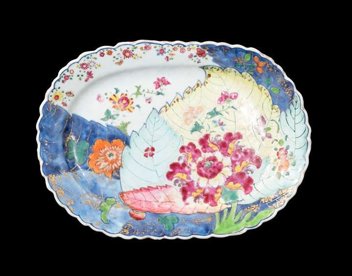 GG: Chinese export porcelain famille rose small meatdish with the tobacco leaf pattern