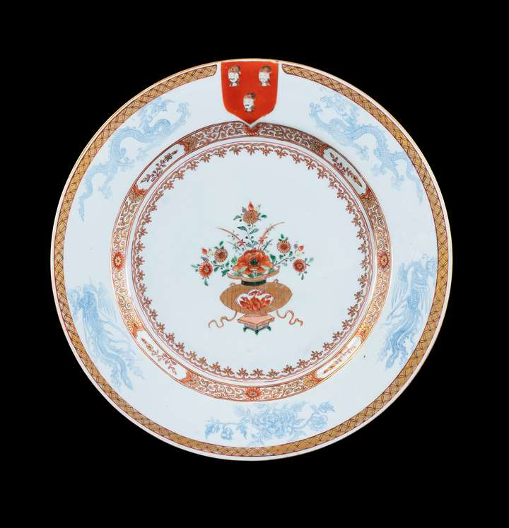 GG: Chinese export armorial porcelain charger, arms of Fazakerley
