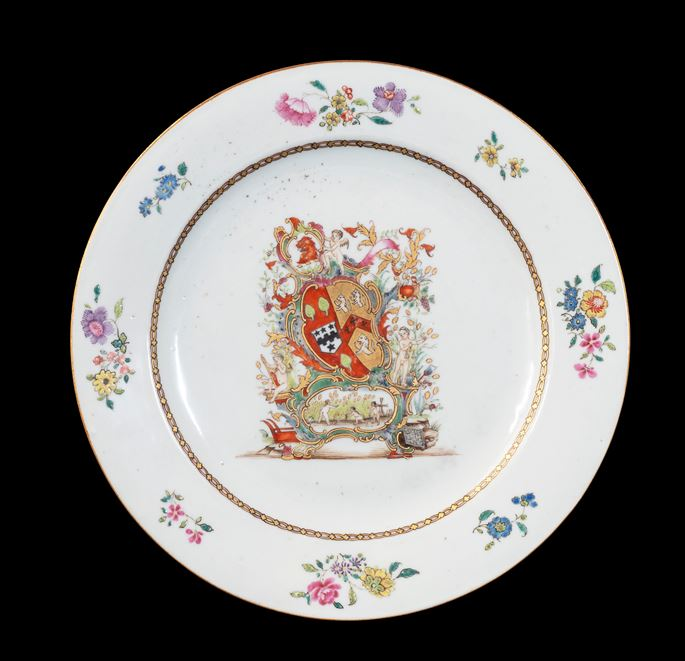 GG: Chinese export armorial porcelain dinner plate, arms of Coggan, Blackburne; Steevens | MasterArt