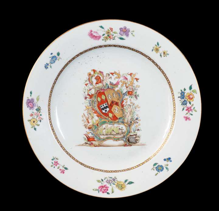 GG: Chinese export armorial porcelain dinner plate, arms of Coggan, Blackburne; Steevens
