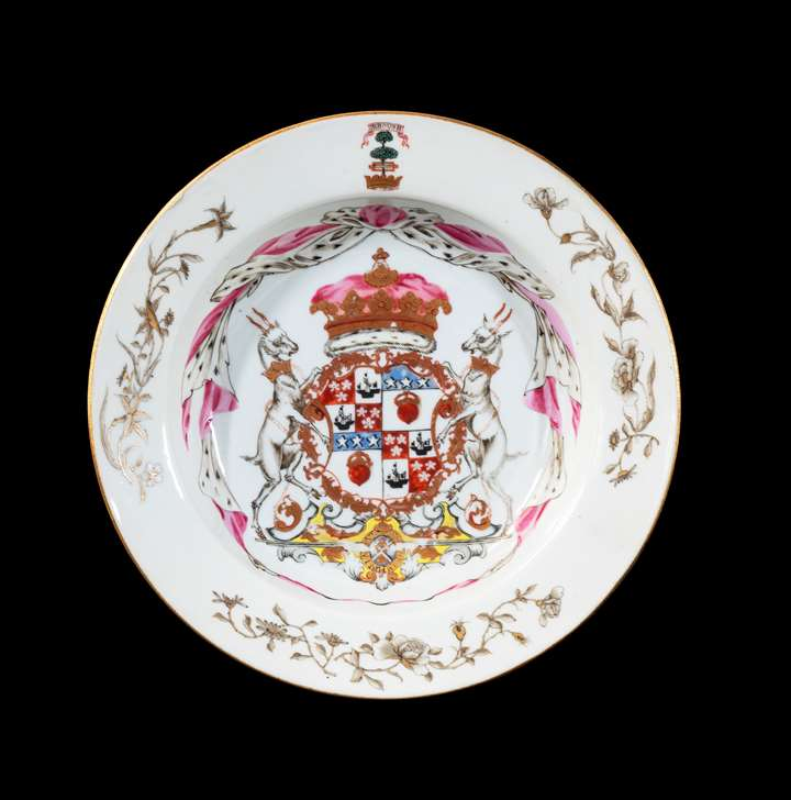 GG: Chinese export armorial porcelain soup plate, arms of the Duke of Hamilton