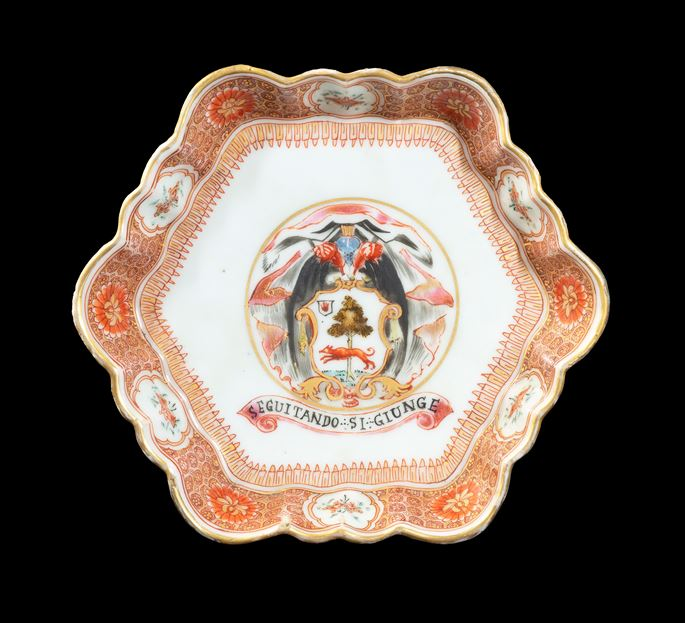 GG: Chinese export armorial porcelain teapot stand, arms of Lambert | MasterArt