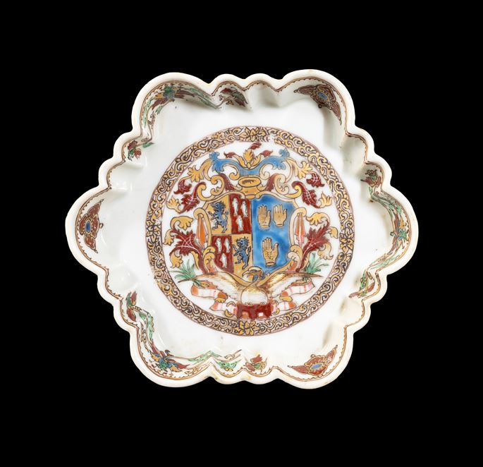 GG: Chinese export armorial porcelain teapot stand, arms of Percy impaling de Touchet or Fane | MasterArt
