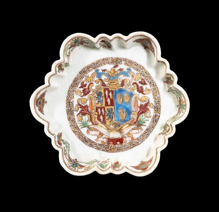 GG: Chinese export armorial porcelain teapot stand, arms of Percy impaling de Touchet or Fane