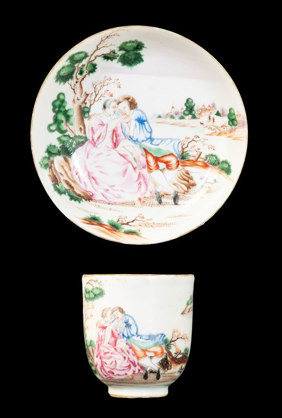 GG: Chinese export porcelain famille rose cup and saucer with European Subject | MasterArt