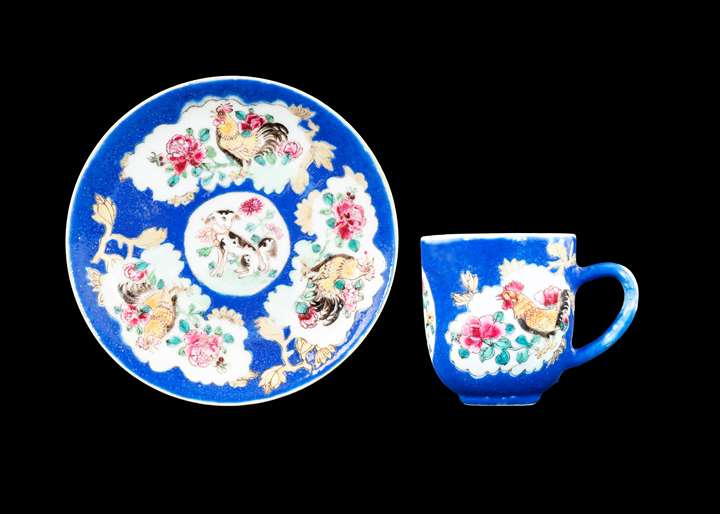 GG: Chinese export porcelain famille rose cup and saucer