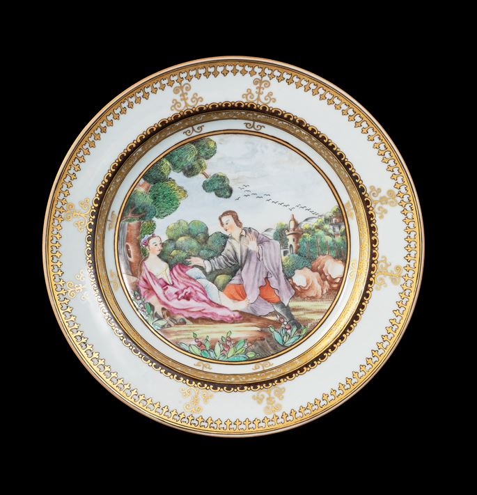 GG: Chinese export porcelain famille rose dinner pate with European subject after Vleughels from La Fontaine | MasterArt