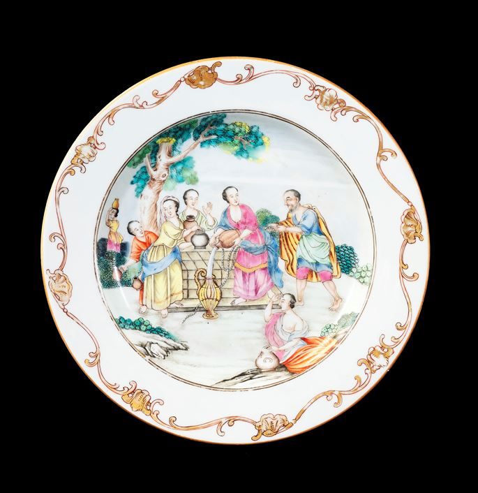 GG: Chinese export porcelain famille rose dinner plate with Rebecca at the Well | MasterArt