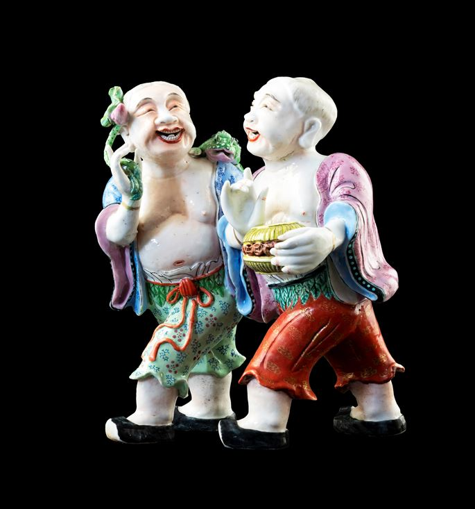 GG: Chinese export porcelain famille rose figure group of the Hehe Erxian | MasterArt