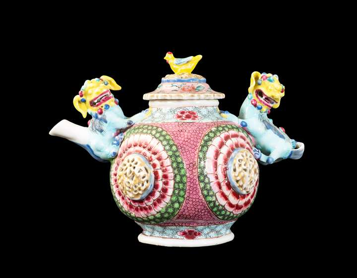 GG: Chinese export porcelain famille rose teapot and cover with buddhist lion handles