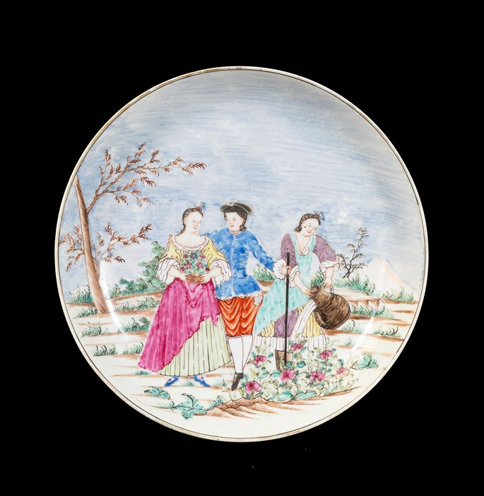 GG: Chinese export porcelain saucer dish with European Subject, Spring after Lancret | MasterArt