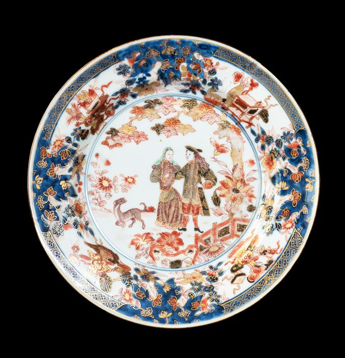 GG: Chinese export porcelain Imari palette dinner plate with European Couple | MasterArt
