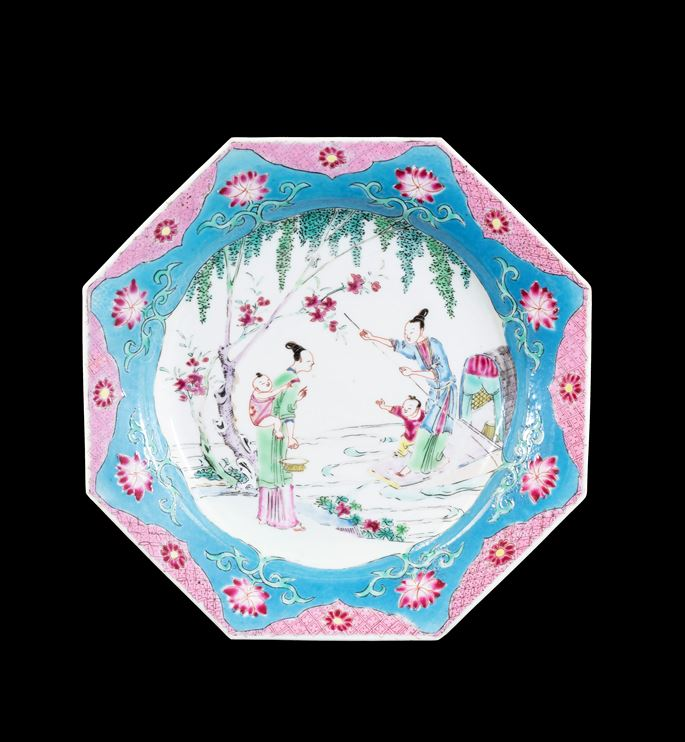 GG: Chinese famille rose semi-eggshell porcelain dinner plate blue and pink border | MasterArt