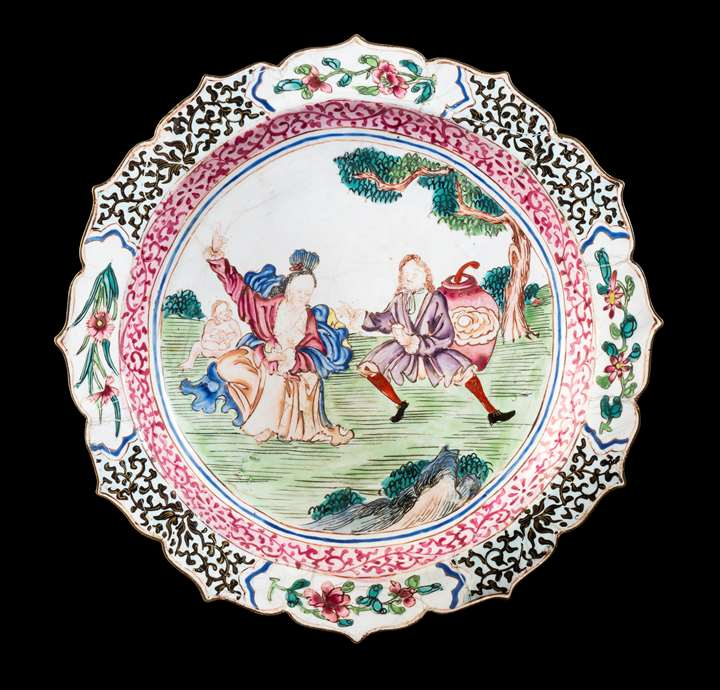 GG: Chinese painted enamel on copper plate with European Subject
