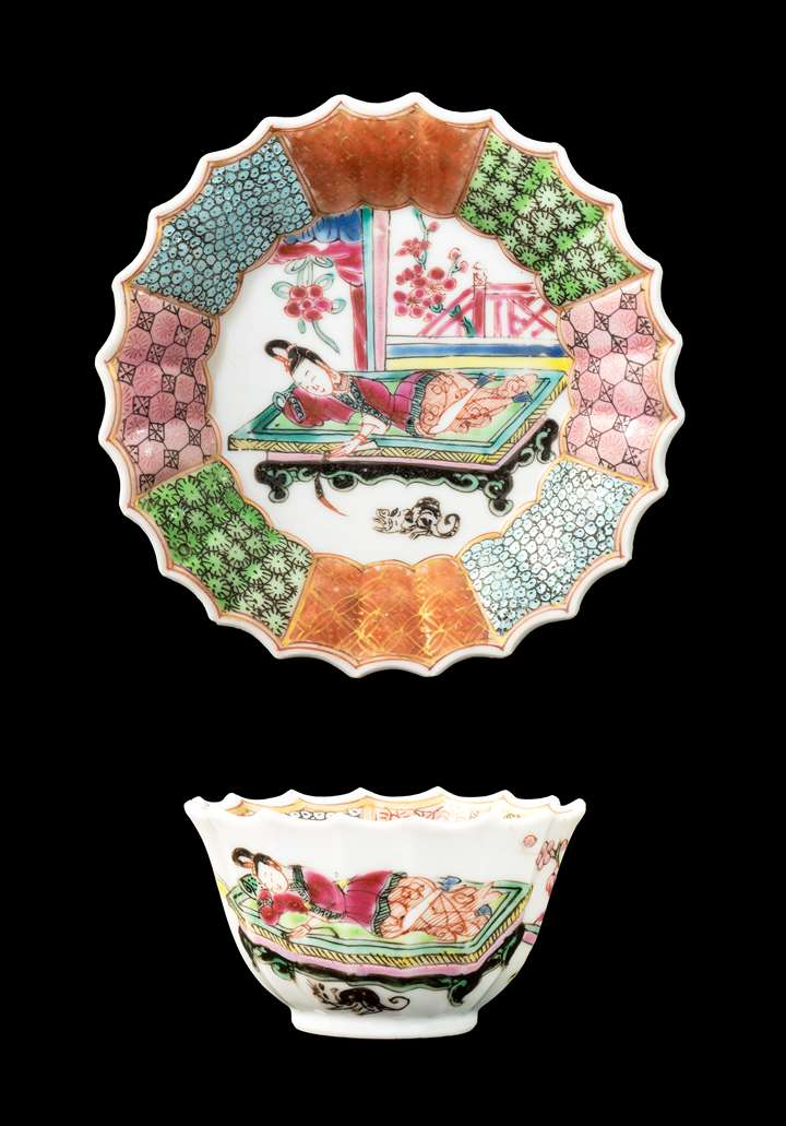 GG: Chinese porcelain famille rose teabowl and saucer