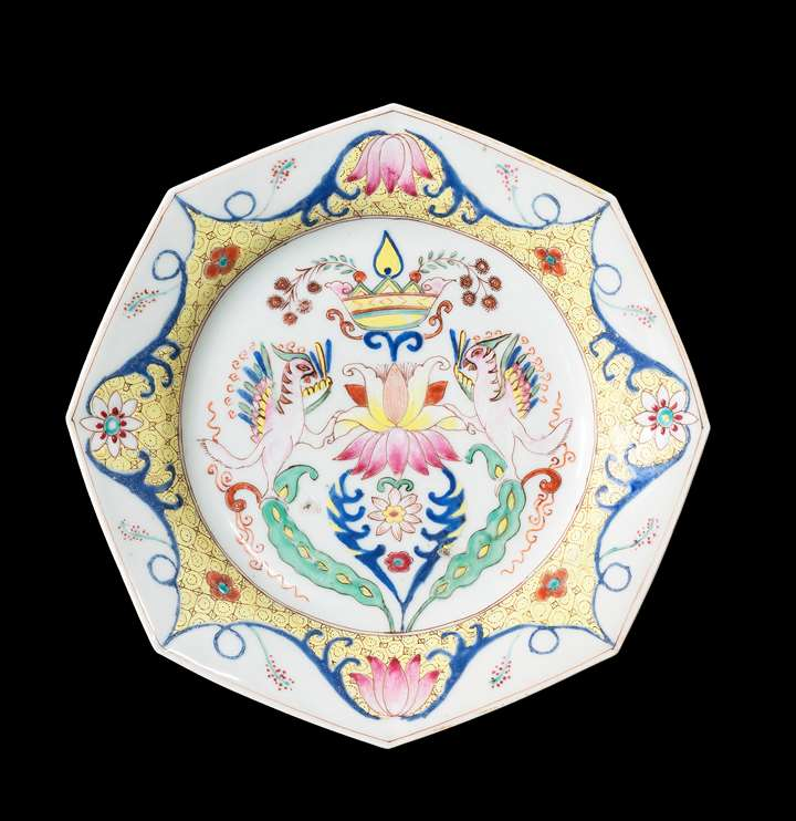 GG: Chinese semi-eggshell porcelain famille rose dinner plate with a pseudo-armorial device