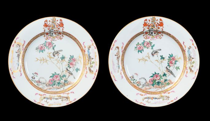 GG: Pair of Chinese armorial dinner plates, arms of Sharpe impaling Cartwright | MasterArt