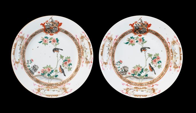 GG: Pair of Chinese armorial dinner plates, arms of Thompson quartering Beilby with Roundell in pretence | MasterArt