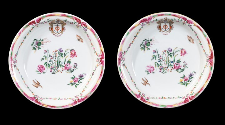 GG: Pair of Chinese armorial porcelain deep fruit dishes with floral monogramme