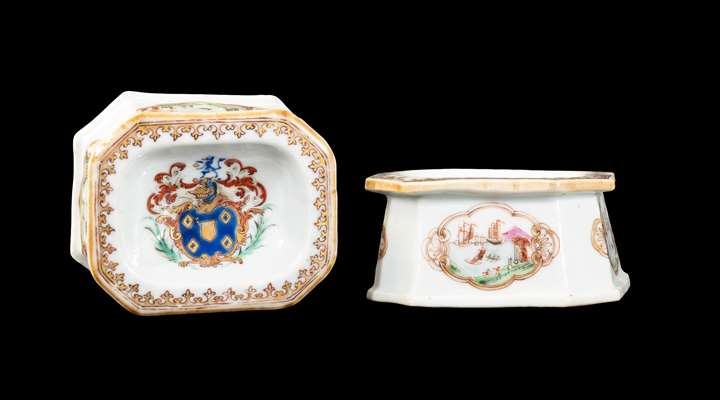 GG: Pair of Chinese armorial porcelain trencher salts, arms of Miller
