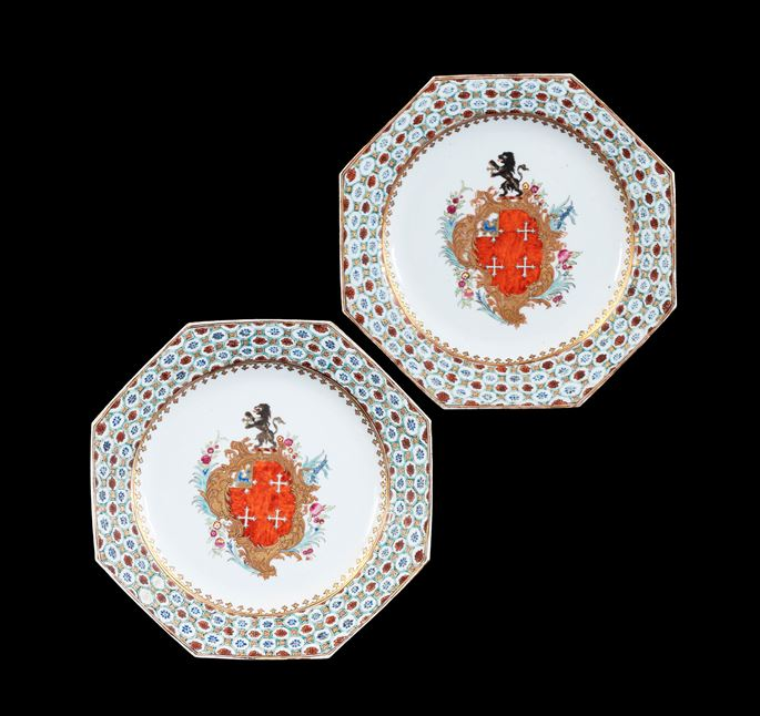 GG: Pair of Chinese export armorial dinner plates, arms of Chase | MasterArt