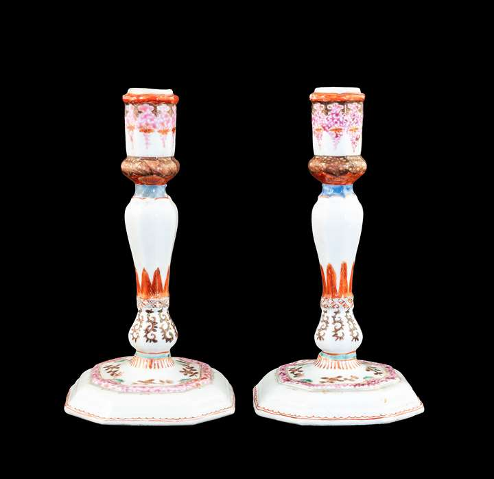 GG: Pair of Chinese export porcelain famille rose candlesticks