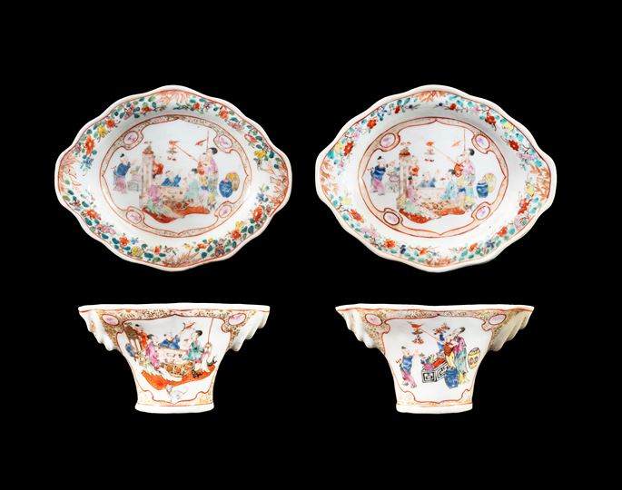 GG: Pair of Chinese export porcelain famille rose libation cups and stands | MasterArt