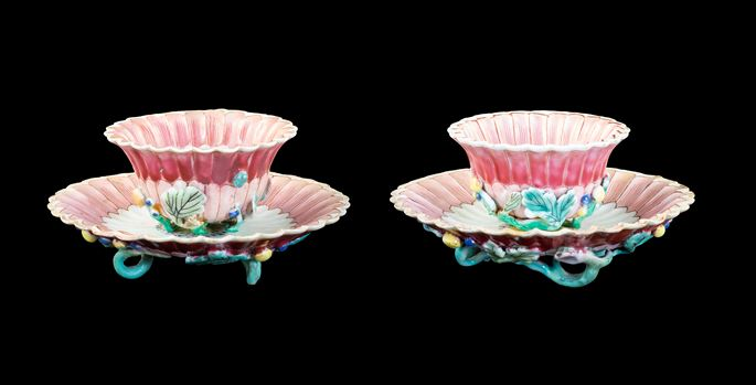 GG: Pair of Chinese export porcelain famille rose teabowls and saucers | MasterArt