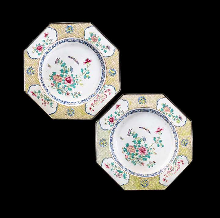GG: Pair of Painted Enamel on Copper plates, with flowers