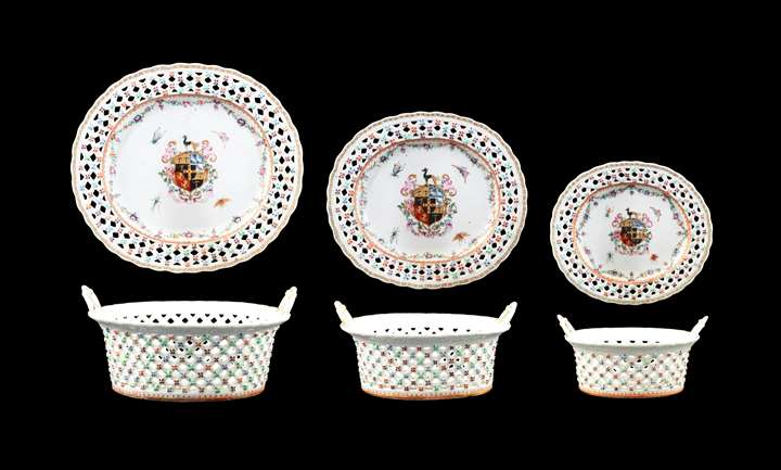 GG: Set of Three Chinese armorial porcelain reticulated baskets and stands, arms of Piggott
