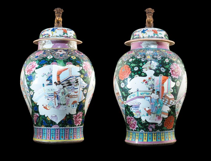 Large pair of Chinese export porcelain black ground vases & covers | MasterArt